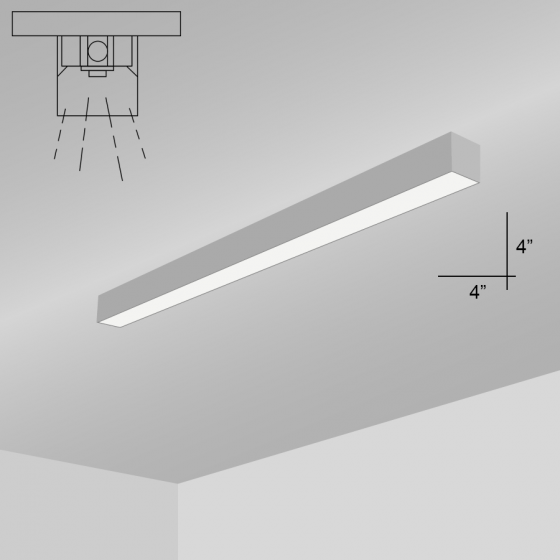 Alcon Lighting 12200-4-S-4 RFT Series Architectural LED 4 Foot Linear Surface Mount Direct Light Fixture