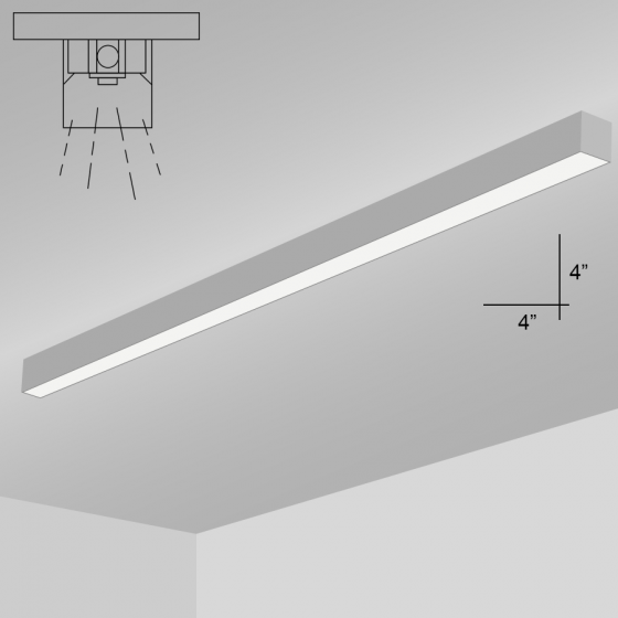 Alcon Lighting 12200-4-S-8 RFT Series Architectural LED 8 Foot Linear Surface Mount Direct Light Fixture