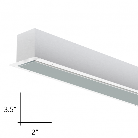 Alcon Lighting 12100-23-R-8 Continuum 23 Series Architectural LED Linear Recessed Mount Direct Down Light Fixture - 8 Foot
