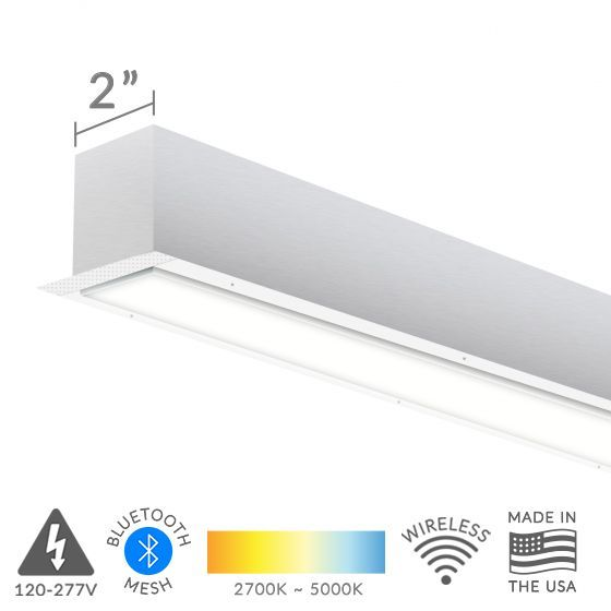 Alcon Lighting 12100-20-R-8 Continuum 20 Series Architectural Trimless LED Linear Recessed Mount Direct Light Fixture - 8 Foot