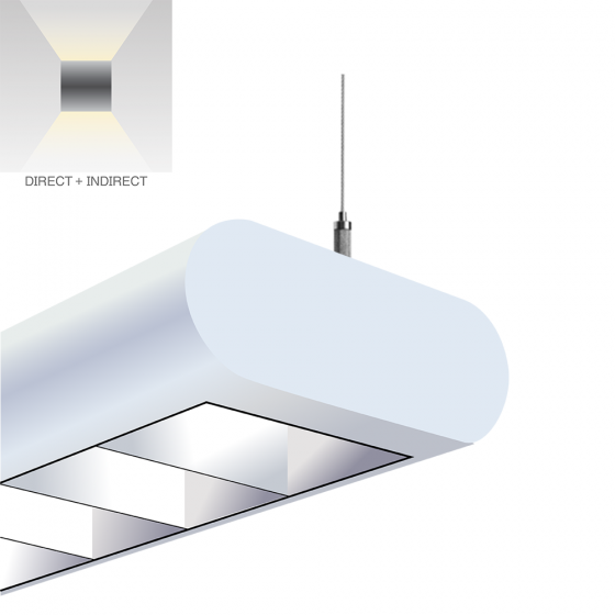 Alcon Lighting 12146-L Capsule Architectural LED Linear Suspension Lighting Pendant Mount Direct/Indirect Light Fixture with Louver