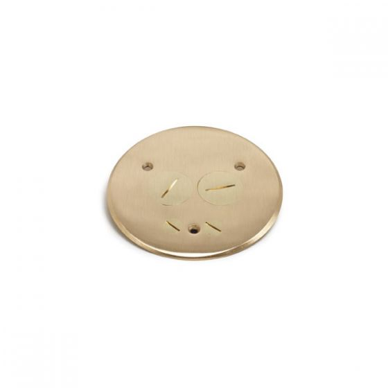 Lew Electric TCP-2-PC Brass Flanged Cover with (2)  1 1/2 Inch Screw Plugs for Duplex Power or Communication Data