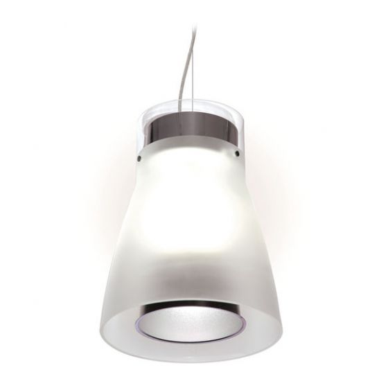 Delray Lighting 622 Kone II Clear with Etched Glass Luminaire Pendant with Downlight