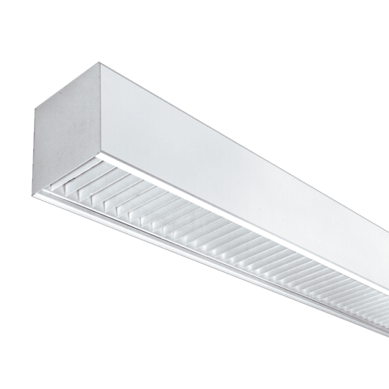 LSI Industries 99D-PMK-4-PL 6x6  Parabolic Louver Linear Fluorescent Suspended Light Fixture - Direct - 4 FT