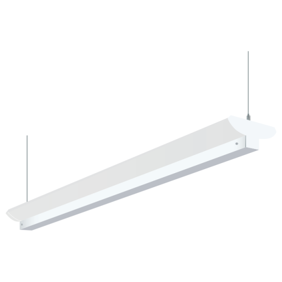 H.E. Williams 79B-8 Industrial Indirect Fluorescent Suspended Light Fixture - 8 FT