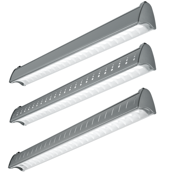 H.E. Williams AXA-8 Architectural Contoured Louver Fluorescent Suspended Light Fixture - 8 FT