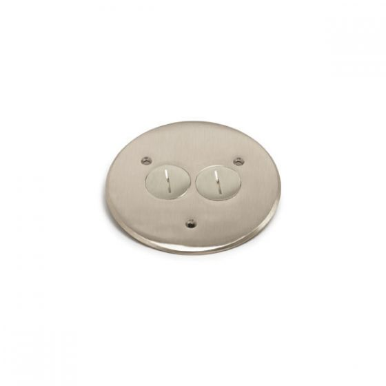Lew Electric TCP-2-NS (2) 1 1/2 Inch Combo Plug for Communication / Data or Single Receptacle Nickel Satin Flanged Cover