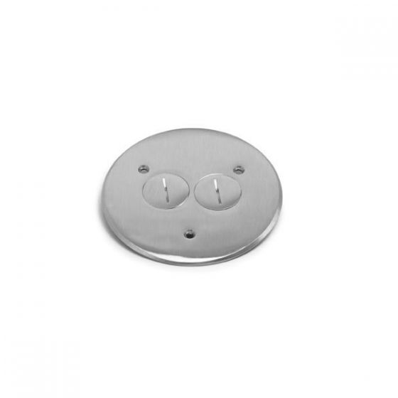 Lew Electric TCP-2-A (2) 1 1/2 Inch Combo Plug for Communication / Data or Single Receptacle Aluminum Flanged Cover