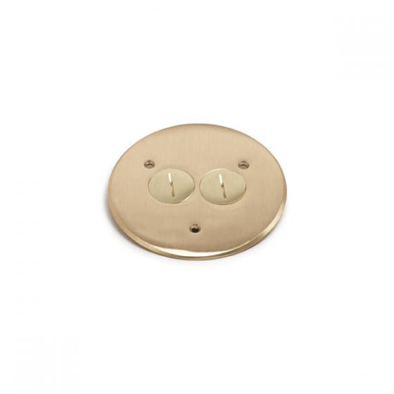 Lew Electric TCP-2 (2) 1 1/2 Inch Combo Plug for Communication / Data or Single Receptacle Brass Flanged Cover