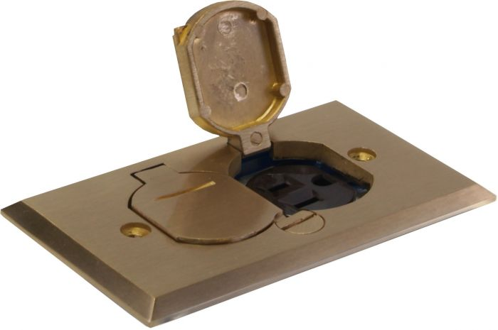 Orbit Brass Industrial Floor Box with Duplex Receptacle Cover and Adjustable Box