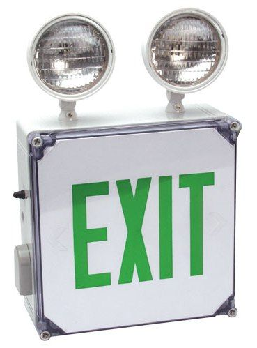 Alcon Lighting Sawyer Wet Location LED Exit/Emergency Combo w/ Battery Backup