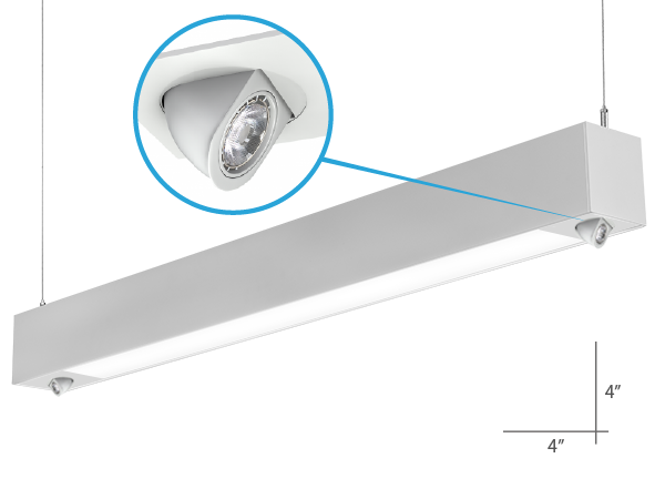 Alcon Lighting 12000-2-P-8F Tesla Dual Pull Down Spot Light Architectural LED 8 Foot Linear Suspension Lighting Pendant Mount Direct/Indirect Fixture