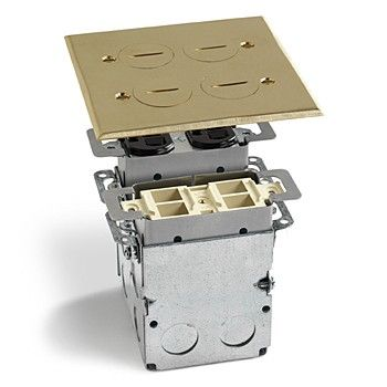 Lew Electric SWB-4-PQ Two Gang Divided Recessed Floor Plate Assembly, 1 Power and 1 Quad Port with 15 Amp Receptacle (Includes Mounting Box)