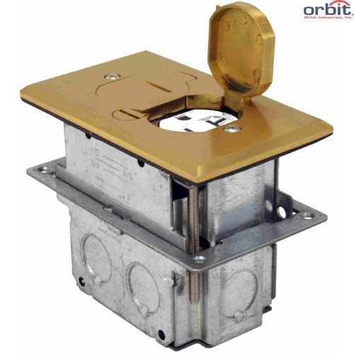 Orbit Tamper Resistant Flip Type Electrical Floor Box with Duplex Receptacle with Adjustable Box