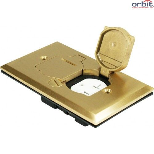 Orbit FLB-D-C Tamper Resistant Flip Type Electrical Floor Box with Duplex Receptacle Cover Only