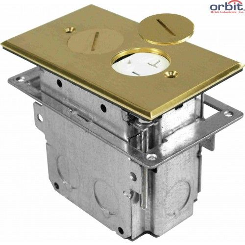 Orbit Tamper Resistant Round Plug Type Electrical Floor Box with Duplex Receptacle with Adjustable Box