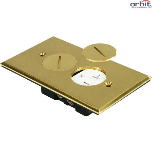 Orbit FLB-R1G-C-BR Tamper Resistant Round Plug Type Electrical Floor Box Cover
