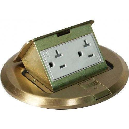 Orbit FLBPU-D-R-C Tamper Resistant Floor Box Pop-up Cover Only with Duplex Receptacle, Round Cover