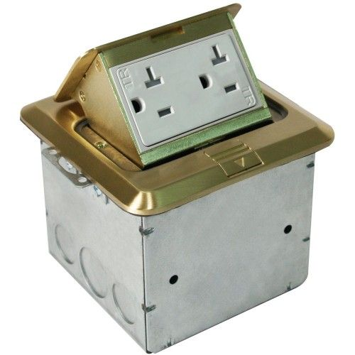 Orbit FLBPU-D-S Tamper Resistant Floor Box Pop-Up with Duplex Receptacle Square Cover