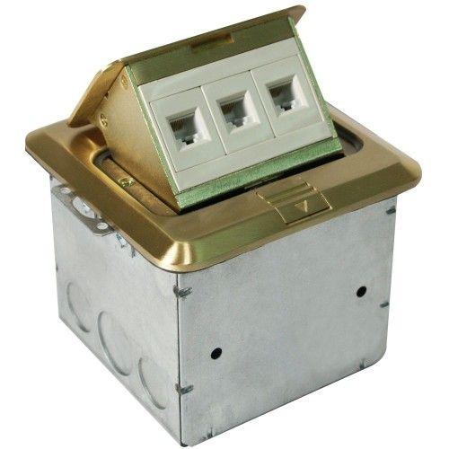 Orbit FLBPU-L-S Tamper Resistant Floor Box Pop-Up with Low Voltage RJ45 Data, Square Cover