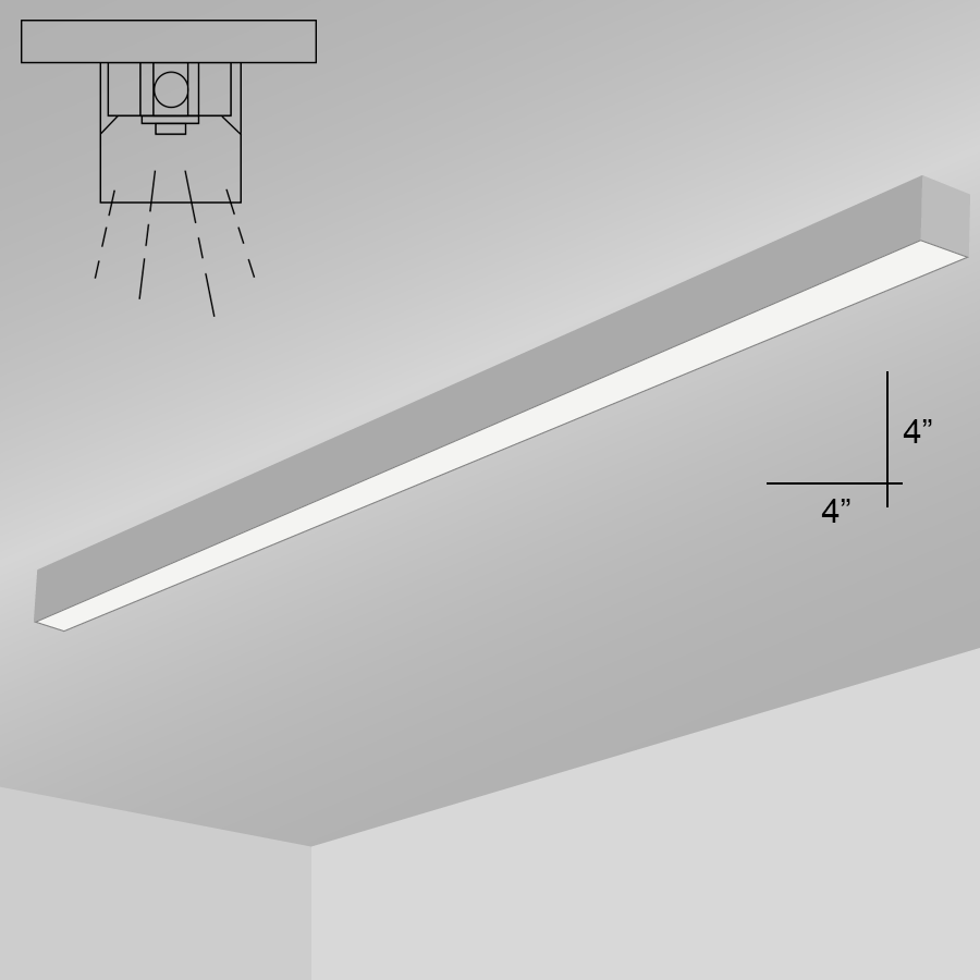 Alcon Lighting 12200 4 S 8 Rft Series Architectural Led Foot Linear Surface Mount Direct Light Fixture
