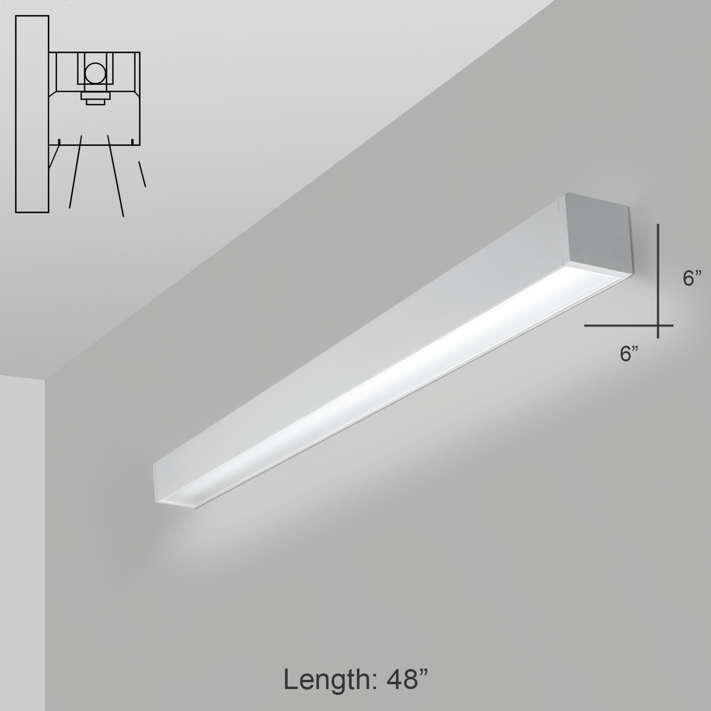 Alcon Lighting 12200 6 W 4 Rft Series Architectural Led Foot Linear Wall Mount Direct Light Fixture