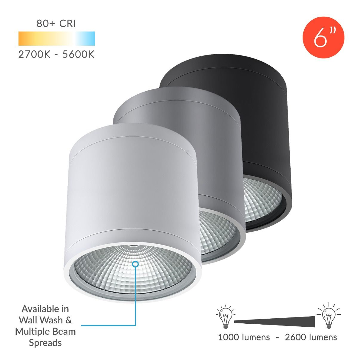 Alcon Lighting 11236 Dir Pavo Architectural Led 6 Inch Cylinder Surface Ceiling Mount Direct Down Light Fixture