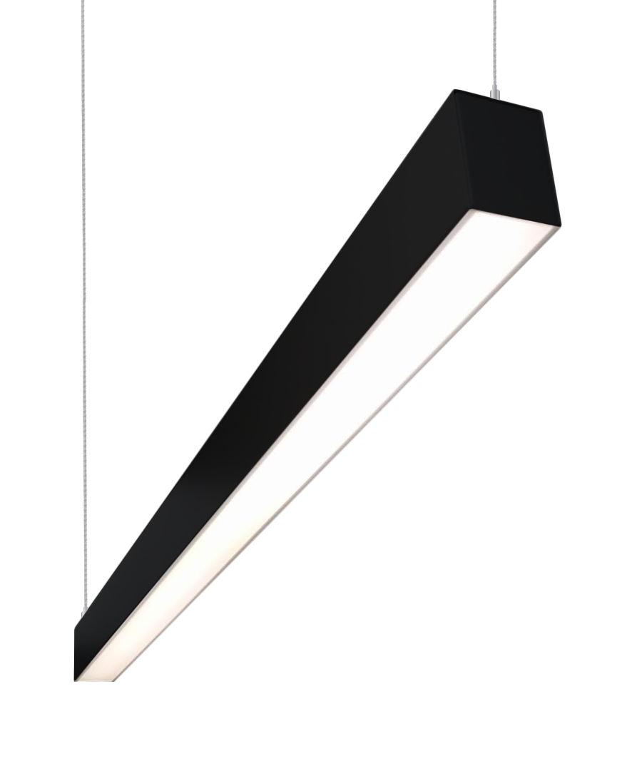 Alcon Lighting Lineo 4 Foot 48 Inches Modern Architectural Led Linear Ceiling Suspended Suspension Light Fixture 37w 3800 Lumens Black Finish For