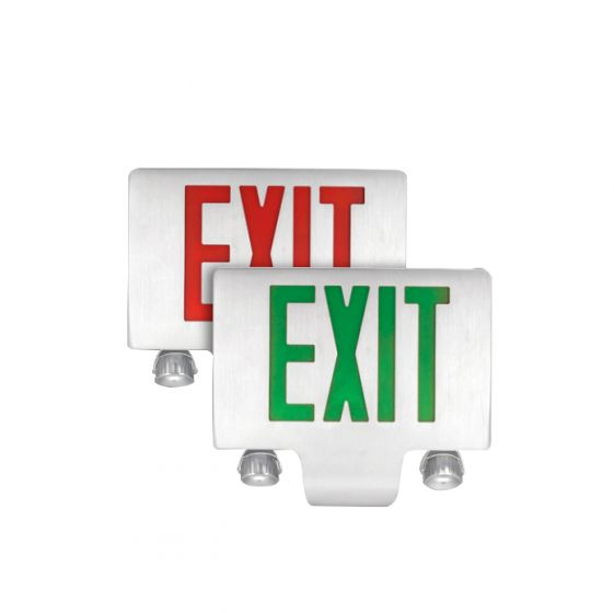 Image 1 of TCP LEDDC Aluminum LED Exit Sign Light with LED Emergency Light Combo