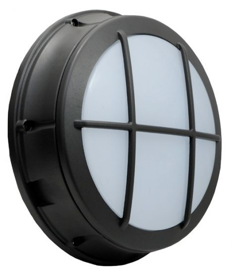 Alcon Lighting 11231-C Optic 12.5 Inch Round/Square Cross Guard Architectural LED Wallpack Outdoor Vandal Proof Luminaire