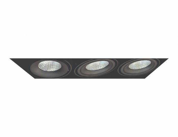 Alcon Lighting 14026-3 Oculare Architectural LED Trimless Adjustable 3 Heads Multiple Recessed Lighting System Direct Down Fixture