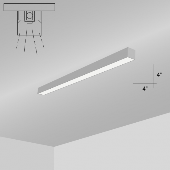 Alcon Lighting 12200-4-S RFT Series Architectural LED Linear Surface Mount Direct Light Fixture