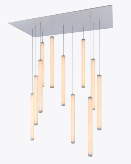 Alcon Lighting 12168-11 Cosma 11 Light Cluster Architectural LED Long Cylinder Vertical Tube Commercial Pendant Light Fixture