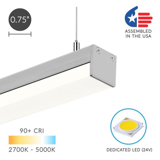 Alcon Lighting 12100-10-P Slim Continuum 10 Series Architectural LED Linear Pendant Direct Down Light Fixture | 4 Foot, Silver Finish, 3000K