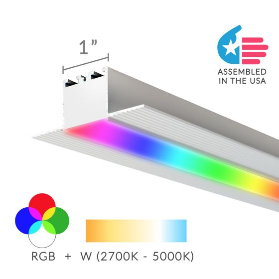 Alcon Lighting 12100-10-RGBW Continuum 10 Architectural 1 Inch Trimless Linear Recessed LED Color Changing Light Strip
