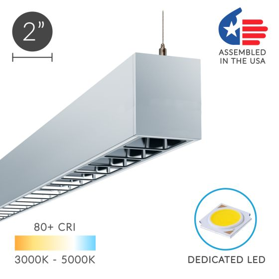 Alcon Lighting 12100-23-P-LV Continuum 23 Louvered Architectural LED Linear Pendant Mount Direct/Indirect Light Fixture