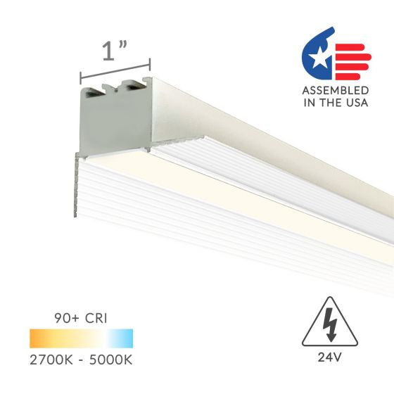 Alcon Lighting 12100-10-PR Continuum 10 Architectural LED 1 Inch Trimless Linear Recessed Mount Direct Down Perimeter Light Strip