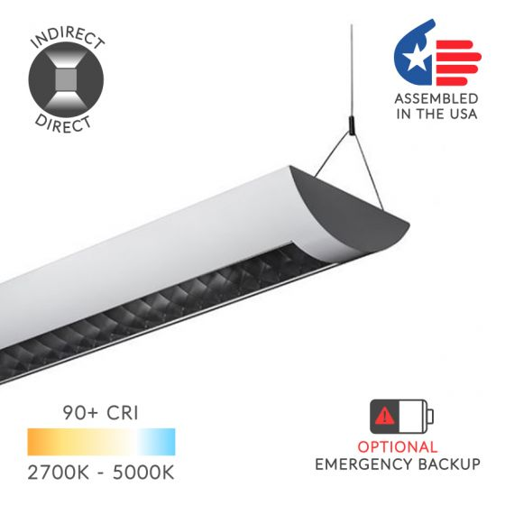 Alcon Lighting 22125-4 Casablanca Architectural LED Linear Pendant Mount Direct Down Light Fixture - 4 Foot, 5783 Lumens, White, 4000K, 60W