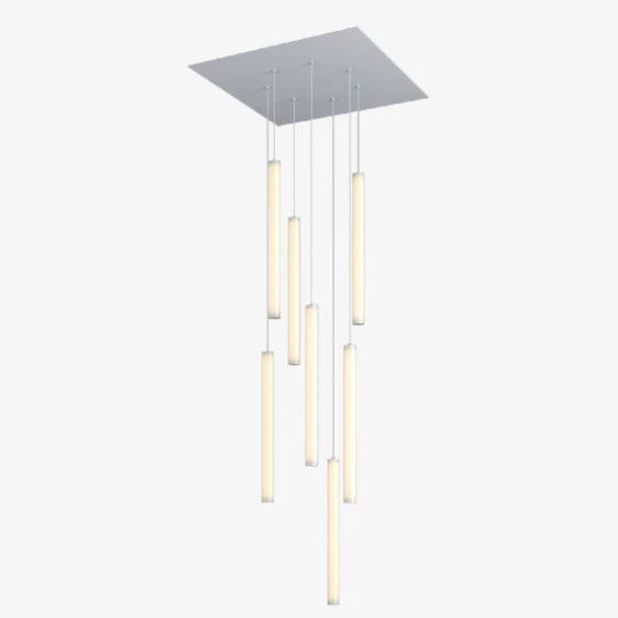Alcon Lighting 12168-7 Cosma 7 Light Cluster Architectural LED Long Cylinder Vertical Tube Commercial Pendant Light Fixture