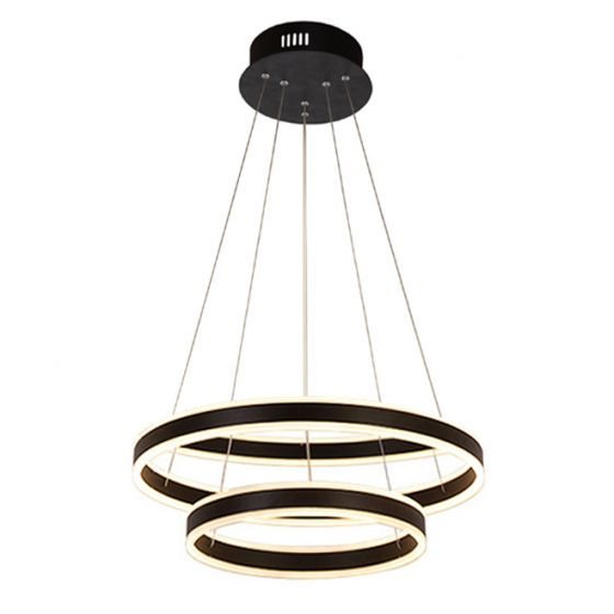 Alcon Lighting 12270-2 Redondo Suspended Architectural LED 2 Tier Ring Direct Indirect Chandelier Light