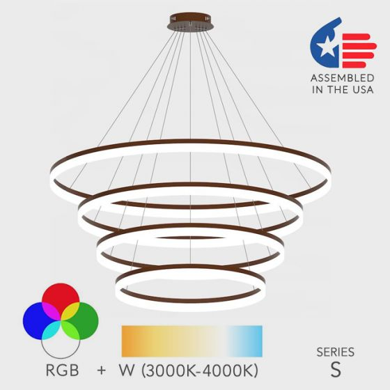 Alcon Lighting 12272-4 Redondo Architectural LED 4 Tier Ring Direct Downlight Chandelier Light