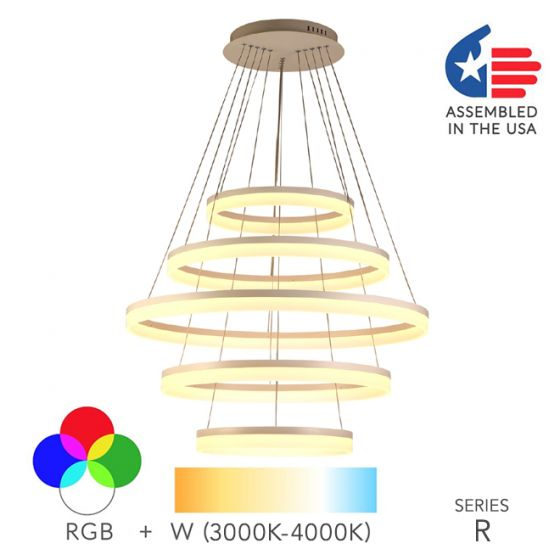 Alcon Lighting 12272-5 Redondo Architectural LED 5 Tier Ring Direct Downlight Chandelier Light