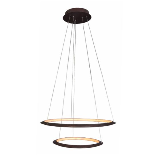 Alcon Lighting 12279-2 Redondo Suspended Architectural LED 2 Tier Ring Direct Indirect Chandelier Light