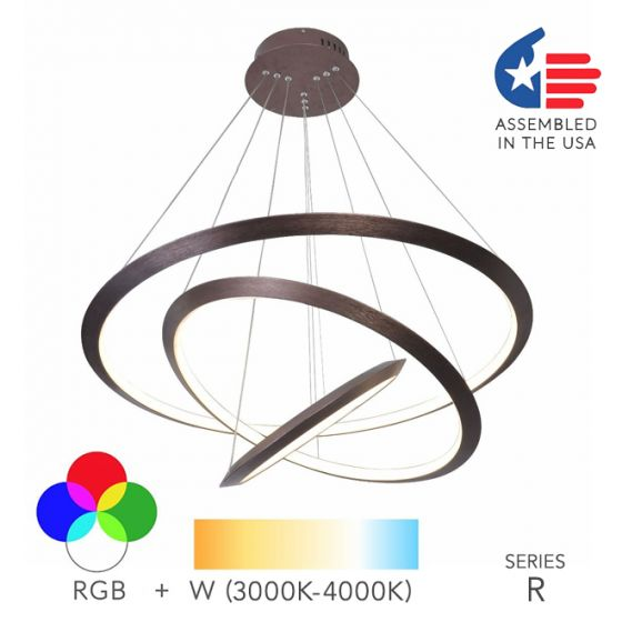 Alcon Lighting 12279-3 Redondo Suspended Architectural LED 3 Tier Ring Direct Indirect Chandelier Light