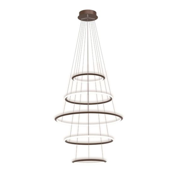 Alcon Lighting 12279-5 Redondo Suspended Architectural LED 5 Tier Ring Direct Indirect Chandelier Light