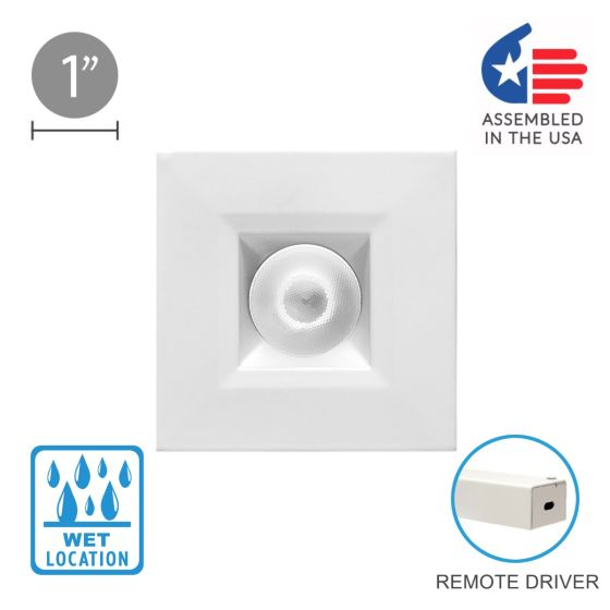 Alcon 14142-S-DIR 1-Inch Architectural LED Square Recessed Outdoor Downlight Fixture