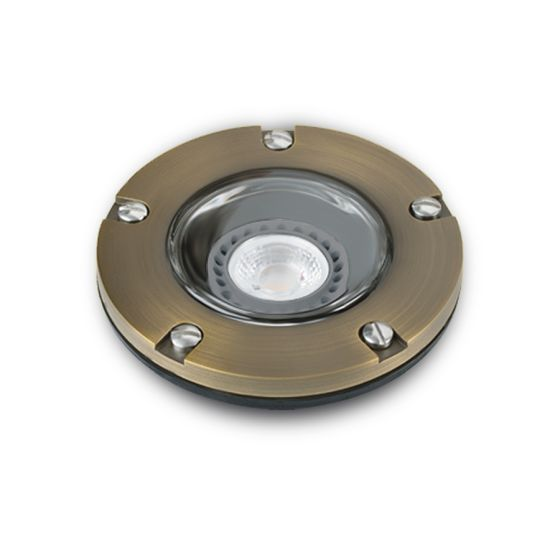Alcon Lighting 9026-CB Harper Architectural Landscape LED 5 Inch Low Voltage Drive-Over Rated Cast Brass Well Light