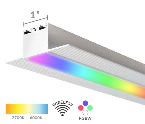 Alcon Lighting 12100-10-RGBW Continuum 10 Architectural LED 1 Inch Trimless Linear Recessed Mount Direct Down Light RGB-W Color Changing Fixture
