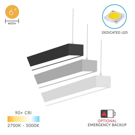 Alcon Lighting 12100-64-P Continuum 64 Series Architectural LED Linear Pendant Mount Direct/Indirect Light Fixture