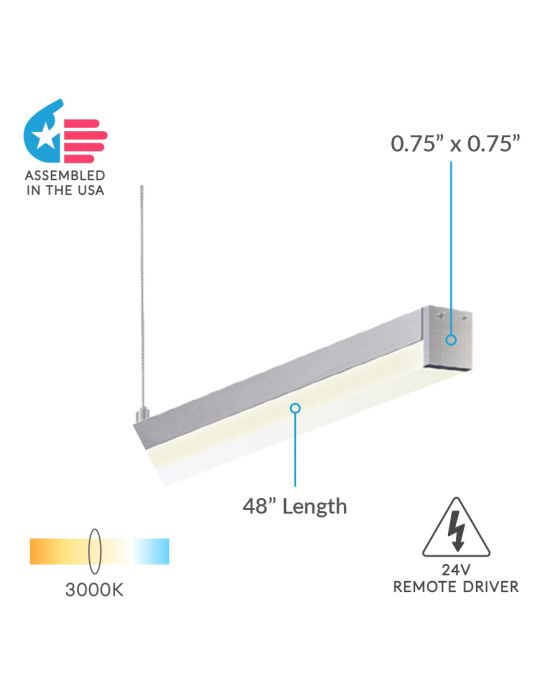 Alcon Lighting 12100-10-P Slim Continuum 10 Series Architectural LED Linear Pendant Direct Down Light Fixture   4 Foot, Silver Finish, 3000K